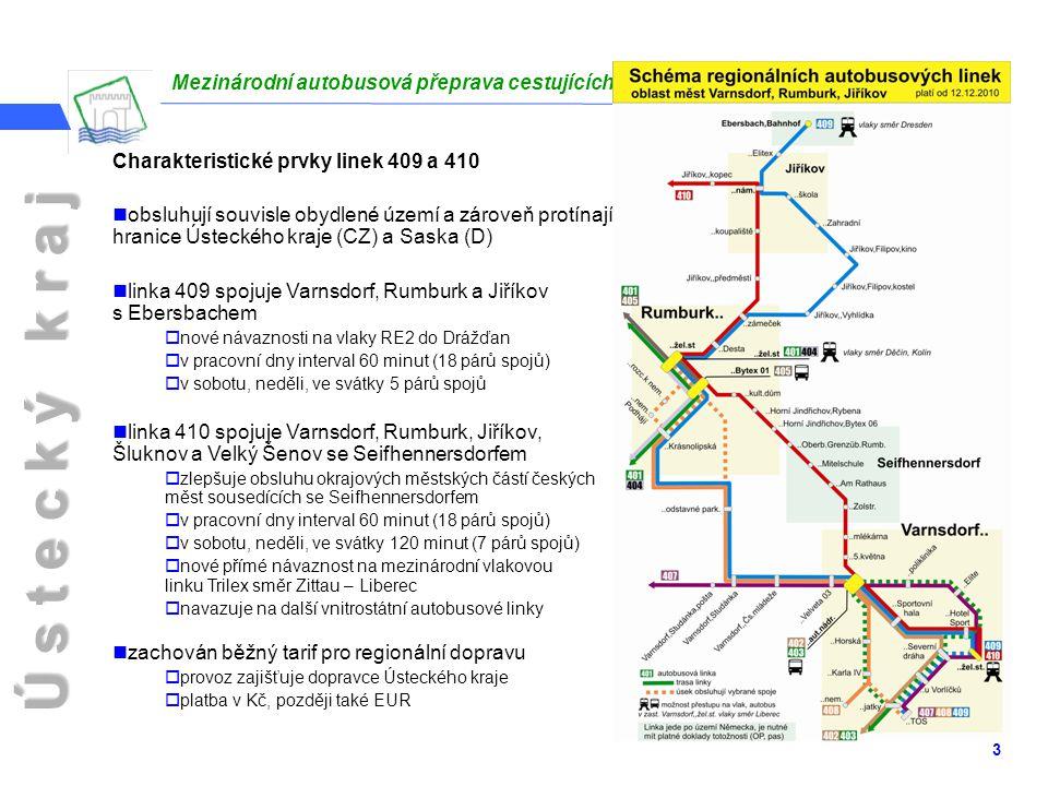 Ú s t e c k ý k r a j Varnsdorf, 16.12.2010 3 Charakteristické prvky linek 409 a 410 obsluhují souvisle obydlené území a zároveň protínají hranice Ústeckého kraje (CZ) a Saska (D) linka 409 spojuje Varnsdorf, Rumburk a Jiříkov s Ebersbachem  nové návaznosti na vlaky RE2 do Drážďan  v pracovní dny interval 60 minut (18 párů spojů)  v sobotu, neděli, ve svátky 5 párů spojů linka 410 spojuje Varnsdorf, Rumburk, Jiříkov, Šluknov a Velký Šenov se Seifhennersdorfem  zlepšuje obsluhu okrajových městských částí českých měst sousedících se Seifhennersdorfem  v pracovní dny interval 60 minut (18 párů spojů)  v sobotu, neděli, ve svátky 120 minut (7 párů spojů)  nové přímé návaznost na mezinárodní vlakovou linku Trilex směr Zittau – Liberec  navazuje na další vnitrostátní autobusové linky zachován běžný tarif pro regionální dopravu  provoz zajišťuje dopravce Ústeckého kraje  platba v Kč, později také EUR Mezinárodní autobusová přeprava cestujících