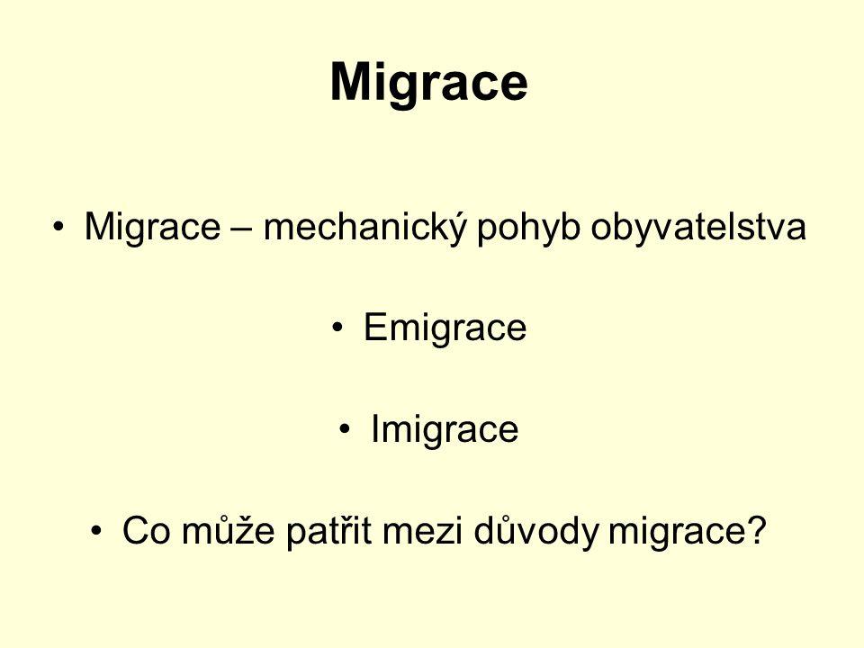 Migrace Migrace – mechanický pohyb obyvatelstva Emigrace Imigrace Co může patřit mezi důvody migrace?