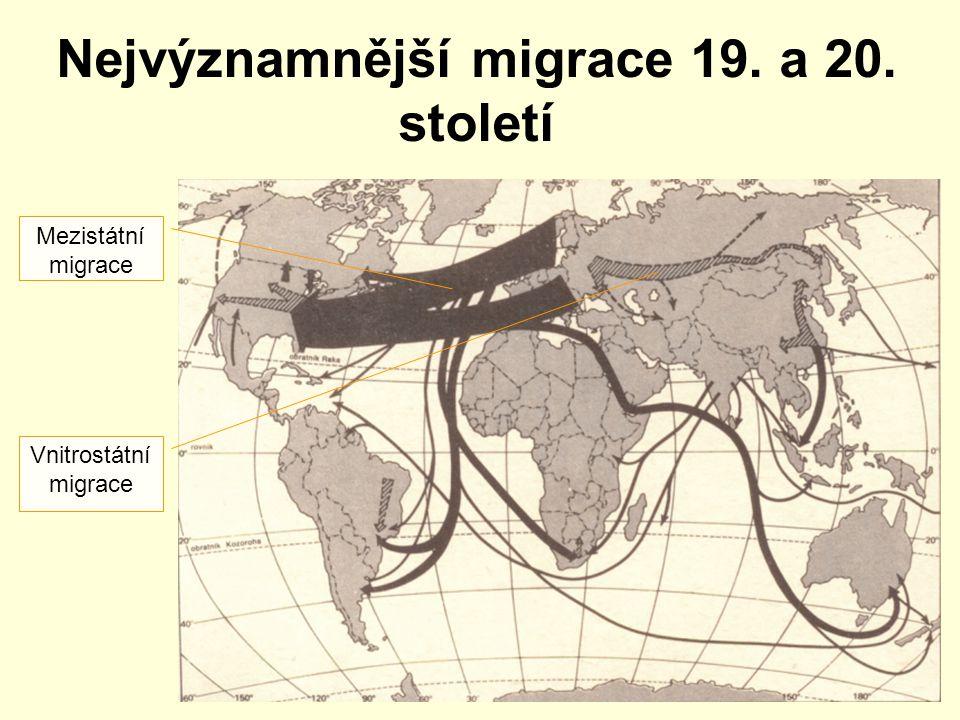 Nejvýznamnější migrace 19. a 20. století Mezistátní migrace Vnitrostátní migrace