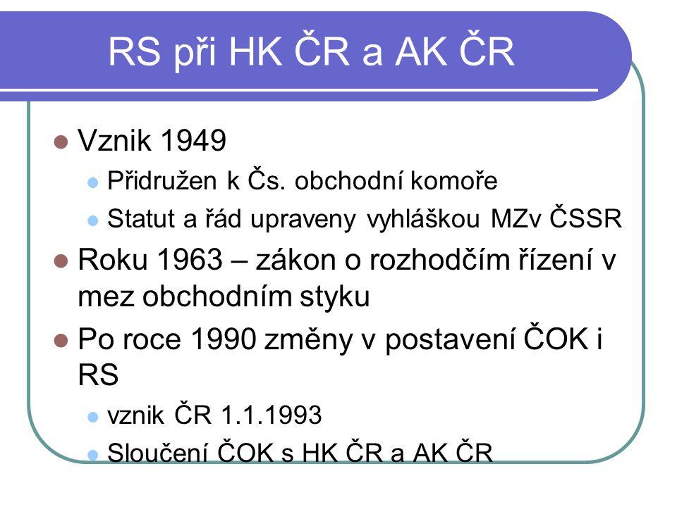 RS při HK ČR a AK ČR Vznik 1949 Přidružen k Čs.