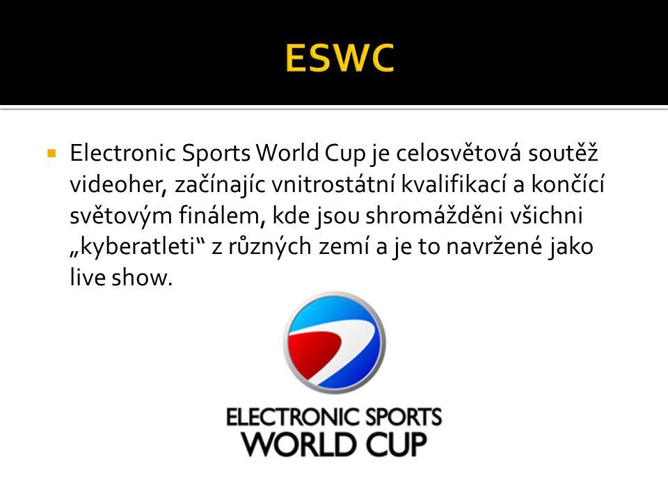 """ Electronic Sports World Cup je celosvětová soutěž videoher, začínajíc vnitrostátní kvalifikací a končící světovým finálem, kde jsou shromážděni všichni """"kyberatleti z různých zemí a je to navržené jako live show."""