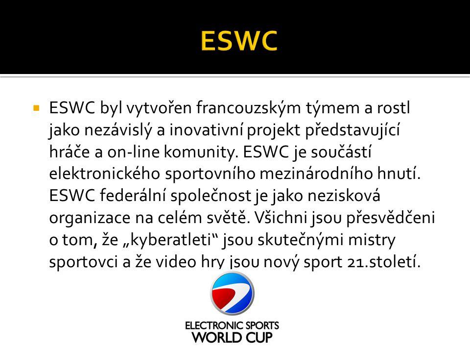  ESWC byl vytvořen francouzským týmem a rostl jako nezávislý a inovativní projekt představující hráče a on-line komunity. ESWC je součástí elektronic