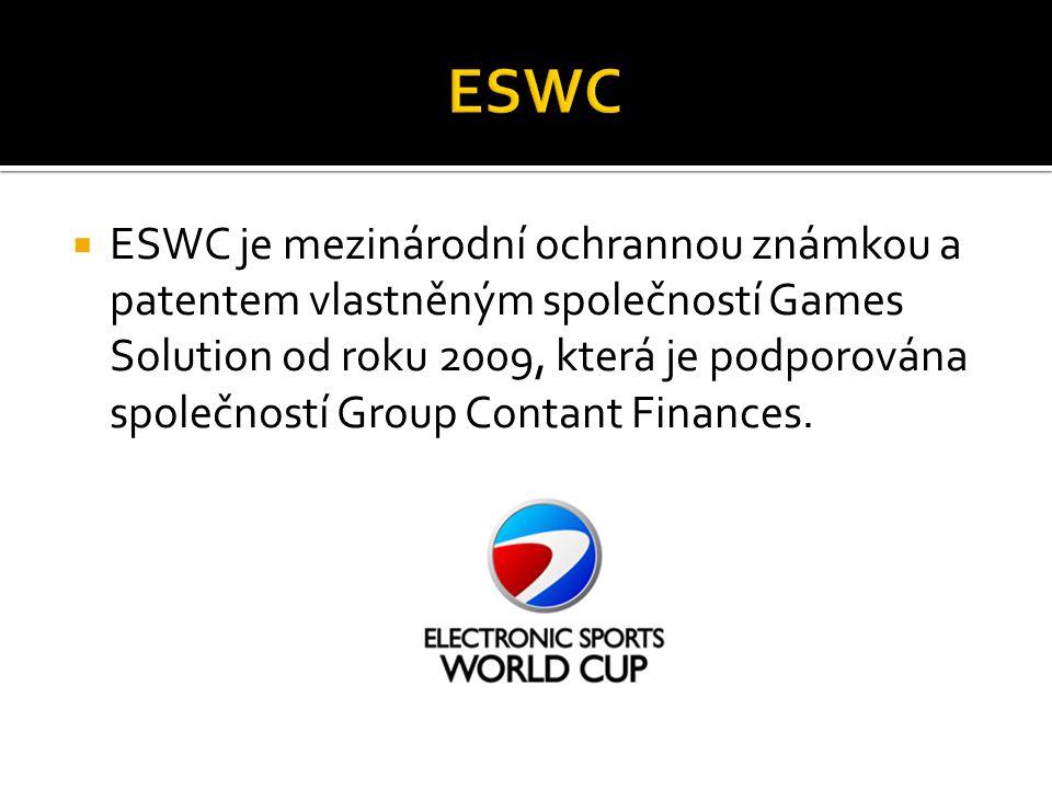  ESWC je mezinárodní ochrannou známkou a patentem vlastněným společností Games Solution od roku 2009, která je podporována společností Group Contant Finances.