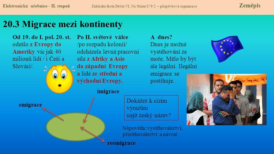 20.3 Migrace mezi kontinenty Elektronická učebnice - II. stupeň Základní škola Děčín VI, Na Stráni 879/2 – příspěvková organizace Zeměpis Od 19. do I.