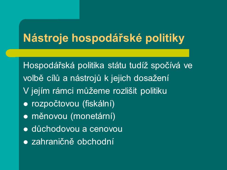 Nástroje hospodářské politiky Hospodářská politika státu tudíž spočívá ve volbě cílů a nástrojů k jejich dosažení V jejím rámci můžeme rozlišit politiku rozpočtovou (fiskální) měnovou (monetární) důchodovou a cenovou zahraničně obchodní