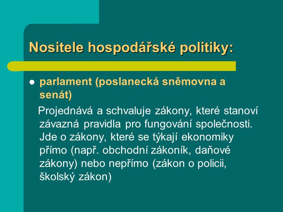 Nositele hospodářské politiky: parlament (poslanecká sněmovna a senát) Projednává a schvaluje zákony, které stanoví závazná pravidla pro fungování spo