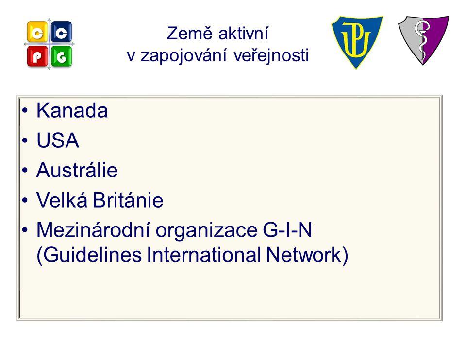 Kanada USA Austrálie Velká Británie Mezinárodní organizace G-I-N (Guidelines International Network) Země aktivní v zapojování veřejnosti