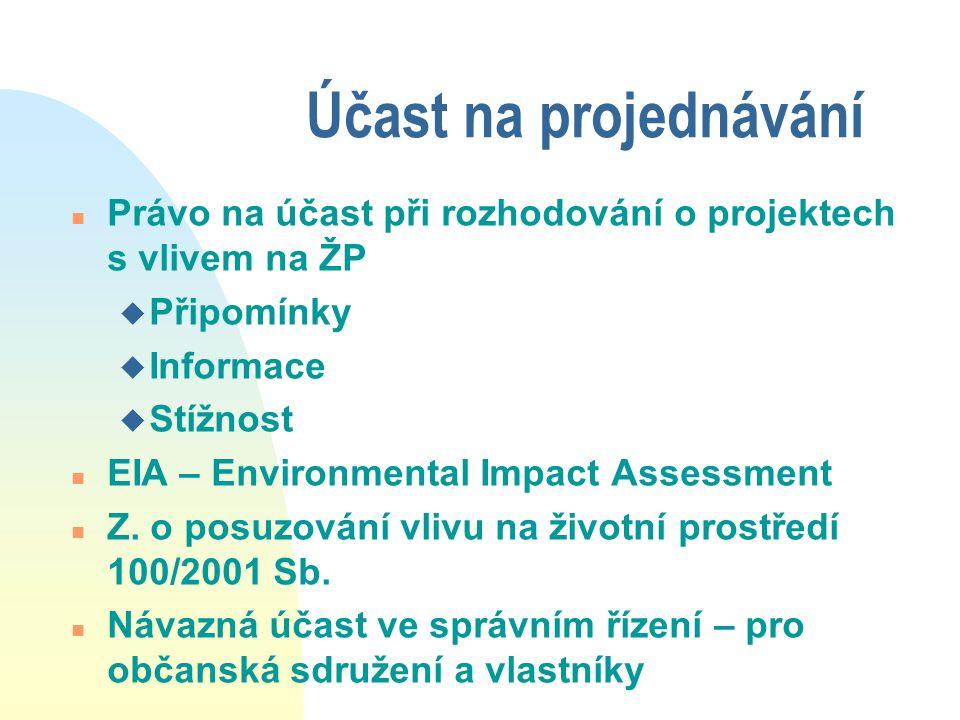 Účast na projednávání n Právo na účast při rozhodování o projektech s vlivem na ŽP u Připomínky u Informace u Stížnost n EIA – Environmental Impact Assessment n Z.