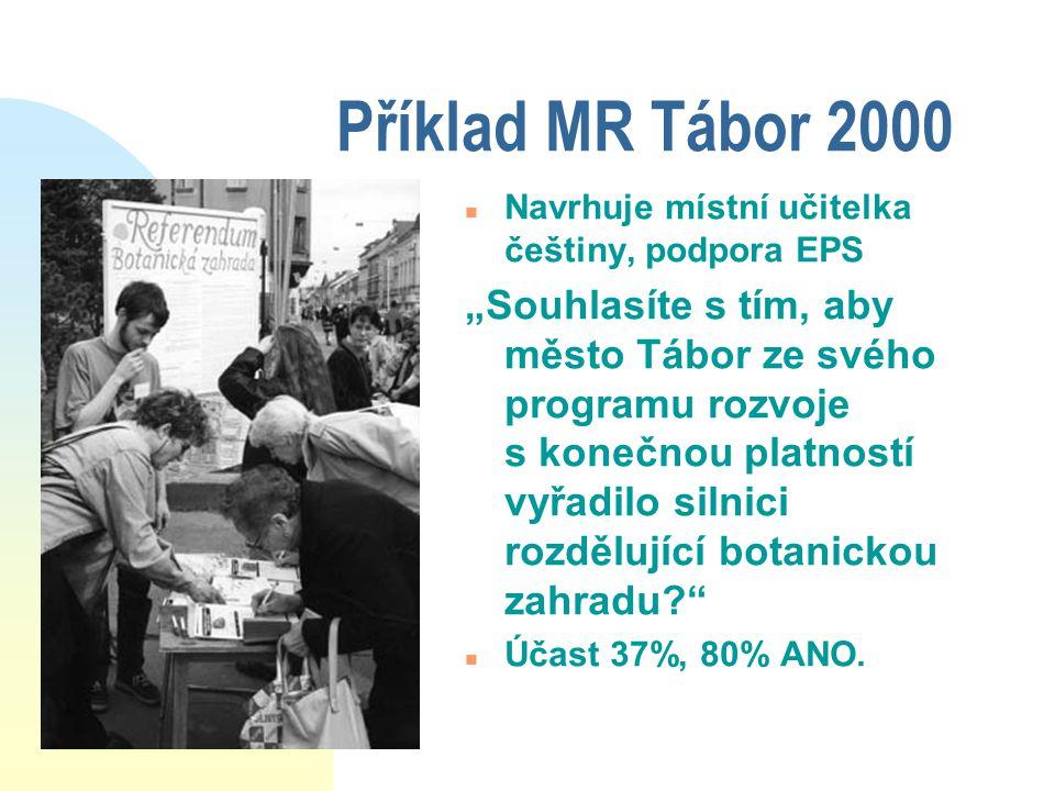 """Příklad MR Tábor 2000 n Navrhuje místní učitelka češtiny, podpora EPS """"Souhlasíte s tím, aby město Tábor ze svého programu rozvoje s konečnou platností vyřadilo silnici rozdělující botanickou zahradu n Účast 37%, 80% ANO."""