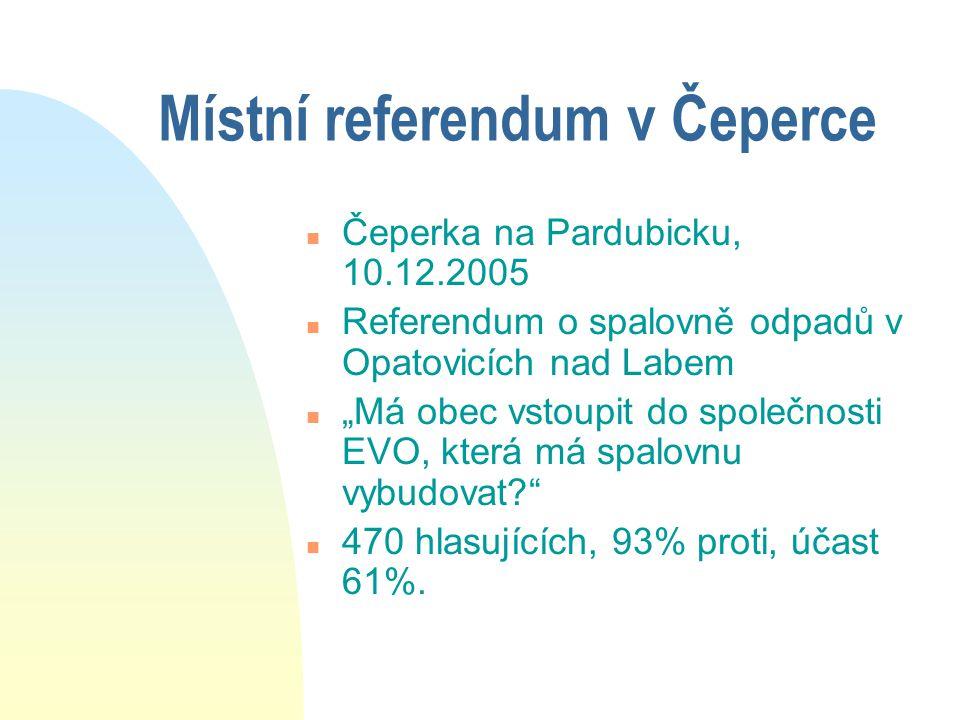 """Místní referendum v Čeperce n Čeperka na Pardubicku, 10.12.2005 n Referendum o spalovně odpadů v Opatovicích nad Labem n """"Má obec vstoupit do společnosti EVO, která má spalovnu vybudovat n 470 hlasujících, 93% proti, účast 61%."""