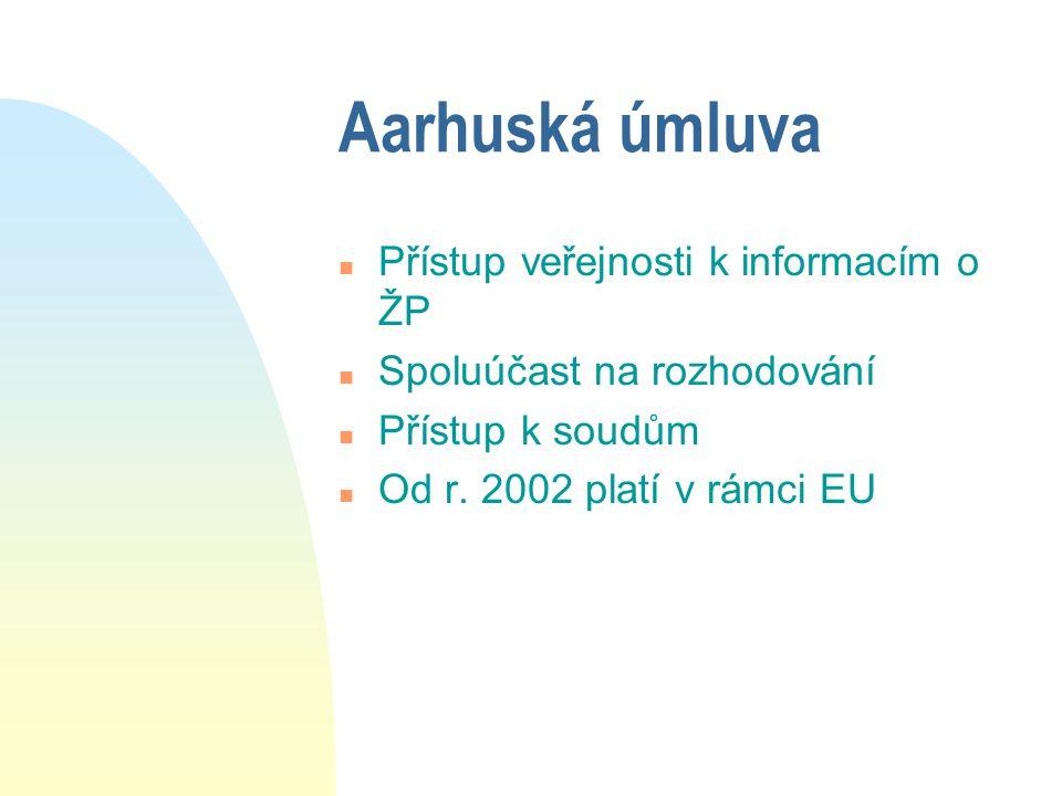 Aarhuská úmluva n Přístup veřejnosti k informacím o ŽP n Spoluúčast na rozhodování n Přístup k soudům n Od r. 2002 platí v rámci EU