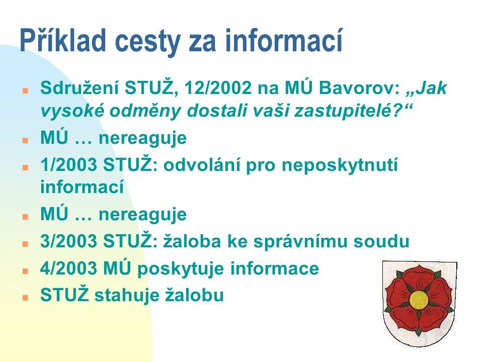 """Příklad cesty za informací n Sdružení STUŽ, 12/2002 na MÚ Bavorov: """"Jak vysoké odměny dostali vaši zastupitelé?"""" n MÚ … nereaguje n 1/2003 STUŽ: odvol"""