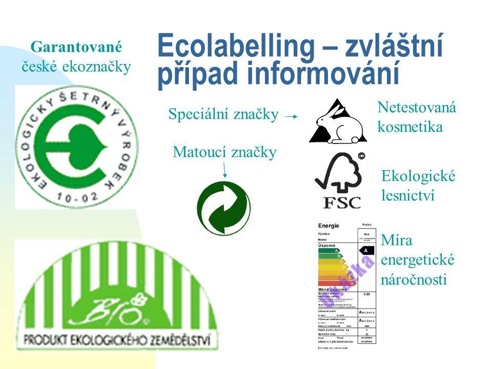 Ecolabelling – zvláštní případ informování Garantované české ekoznačky Speciální značky Netestovaná kosmetika Ekologické lesnictví Míra energetické ná