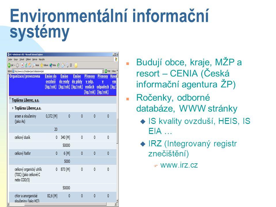 Environmentální informační systémy n Budují obce, kraje, MŽP a resort – CENIA (Česká informační agentura ŽP) n Ročenky, odborné databáze, WWW stránky