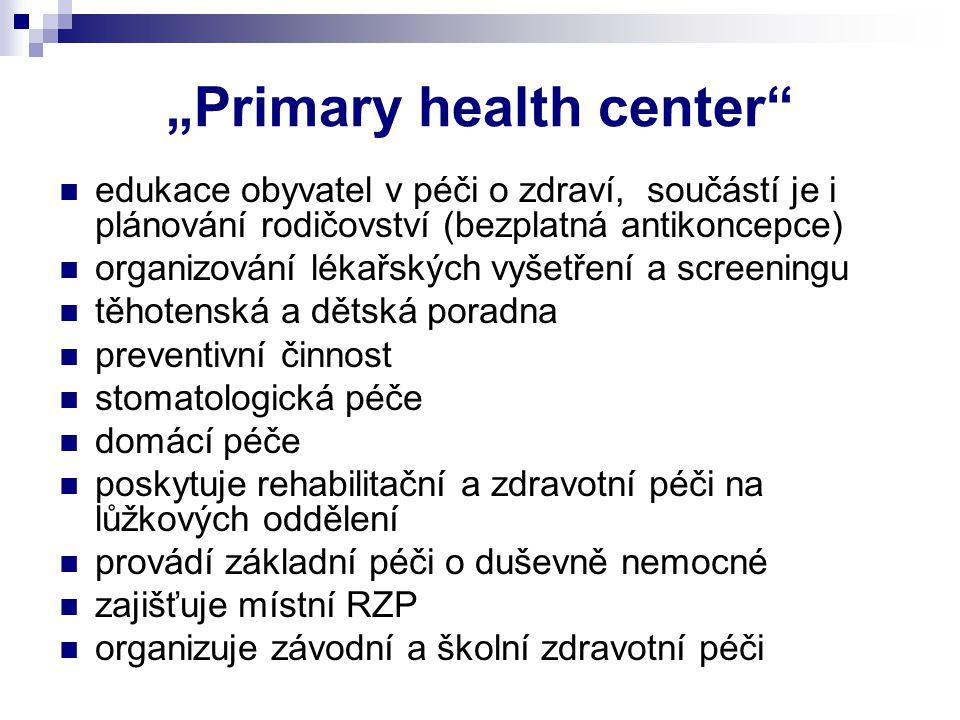 """""""Primary health center"""" edukace obyvatel v péči o zdraví, součástí je i plánování rodičovství (bezplatná antikoncepce) organizování lékařských vyšetře"""