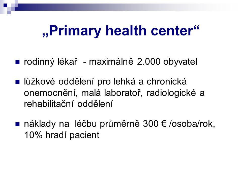 """""""Primary health center"""" rodinný lékař - maximálně 2.000 obyvatel lůžkové oddělení pro lehká a chronická onemocnění, malá laboratoř, radiologické a reh"""