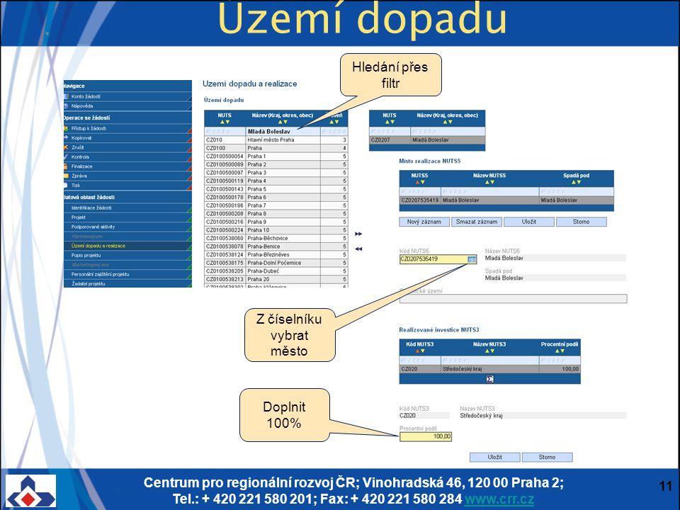 Centrum pro regionální rozvoj ČR; Vinohradská 46, 120 00 Praha 2; Tel.: + 420 221 580 201; Fax: + 420 221 580 284 www.crr.czwww.crr.cz 11 Území dopadu