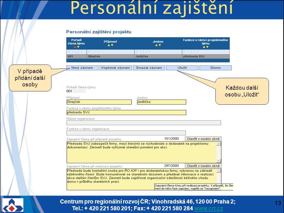 Centrum pro regionální rozvoj ČR; Vinohradská 46, 120 00 Praha 2; Tel.: + 420 221 580 201; Fax: + 420 221 580 284 www.crr.czwww.crr.cz 13 Personální z