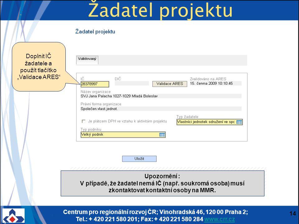 Centrum pro regionální rozvoj ČR; Vinohradská 46, 120 00 Praha 2; Tel.: + 420 221 580 201; Fax: + 420 221 580 284 www.crr.czwww.crr.cz 14 Žadatel proj