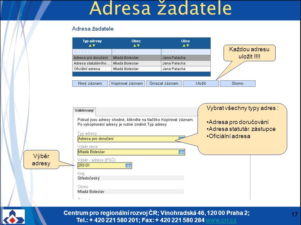 Centrum pro regionální rozvoj ČR; Vinohradská 46, 120 00 Praha 2; Tel.: + 420 221 580 201; Fax: + 420 221 580 284 www.crr.czwww.crr.cz 17 Adresa žadat