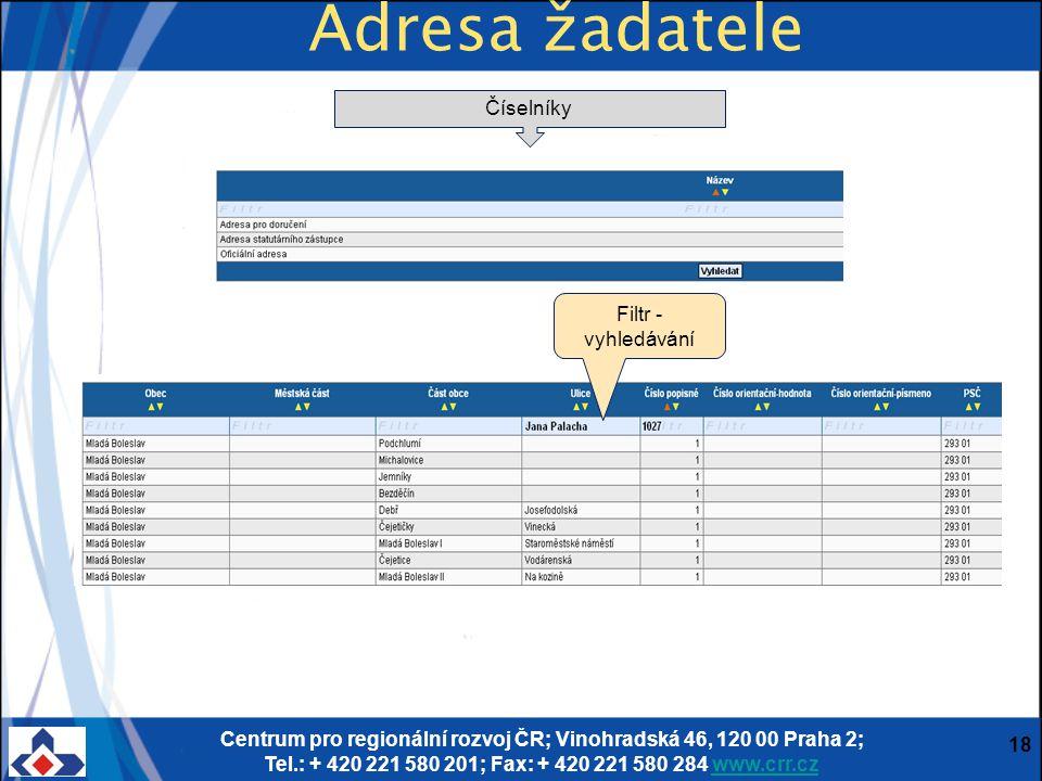 Centrum pro regionální rozvoj ČR; Vinohradská 46, 120 00 Praha 2; Tel.: + 420 221 580 201; Fax: + 420 221 580 284 www.crr.czwww.crr.cz 18 Adresa žadat