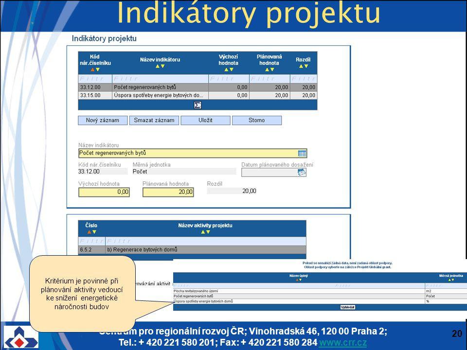 Centrum pro regionální rozvoj ČR; Vinohradská 46, 120 00 Praha 2; Tel.: + 420 221 580 201; Fax: + 420 221 580 284 www.crr.czwww.crr.cz 20 Indikátory p