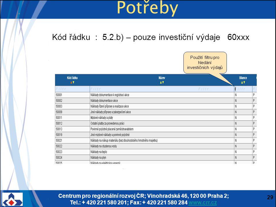 Centrum pro regionální rozvoj ČR; Vinohradská 46, 120 00 Praha 2; Tel.: + 420 221 580 201; Fax: + 420 221 580 284 www.crr.czwww.crr.cz 29 Potřeby Kód řádku : 5.2.b) – pouze investiční výdaje 60xxx Použití filtru pro hledání investičních výdajů
