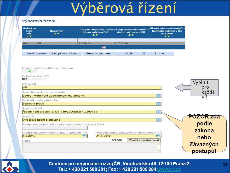 Centrum pro regionální rozvoj ČR; Vinohradská 46, 120 00 Praha 2; Tel.: + 420 221 580 201; Fax: + 420 221 580 284 www.crr.czwww.crr.cz 37 Výběrová říz