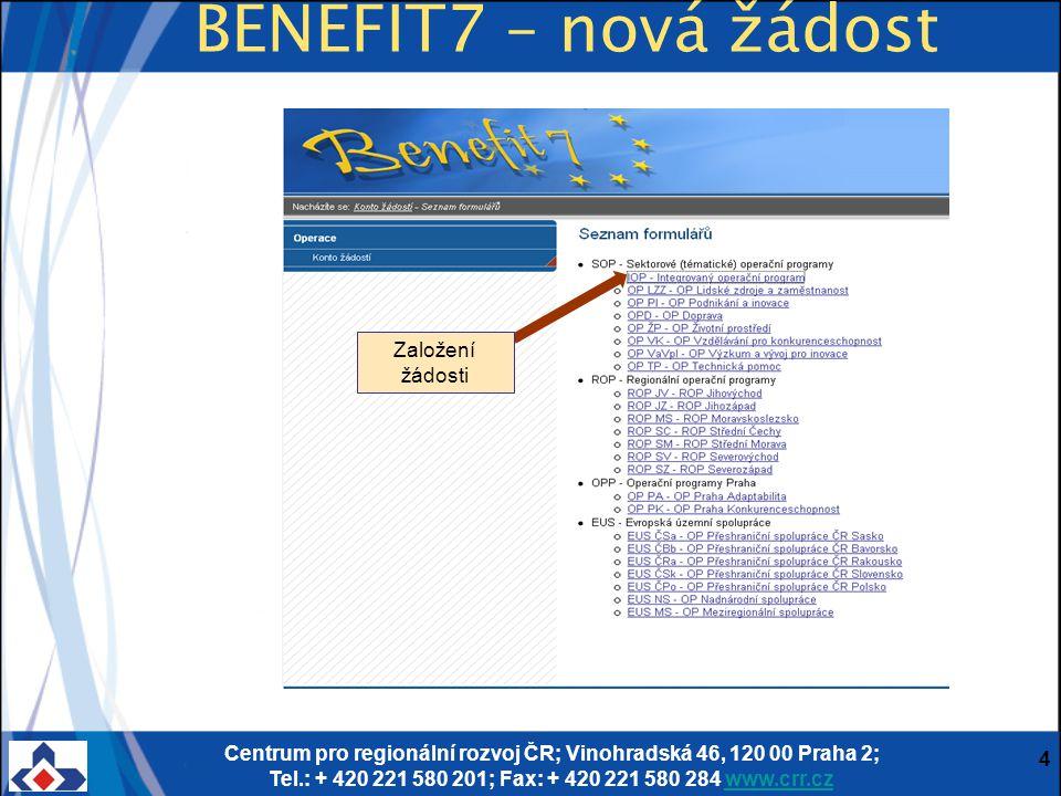 Centrum pro regionální rozvoj ČR; Vinohradská 46, 120 00 Praha 2; Tel.: + 420 221 580 201; Fax: + 420 221 580 284 www.crr.czwww.crr.cz 4 BENEFIT7 – no