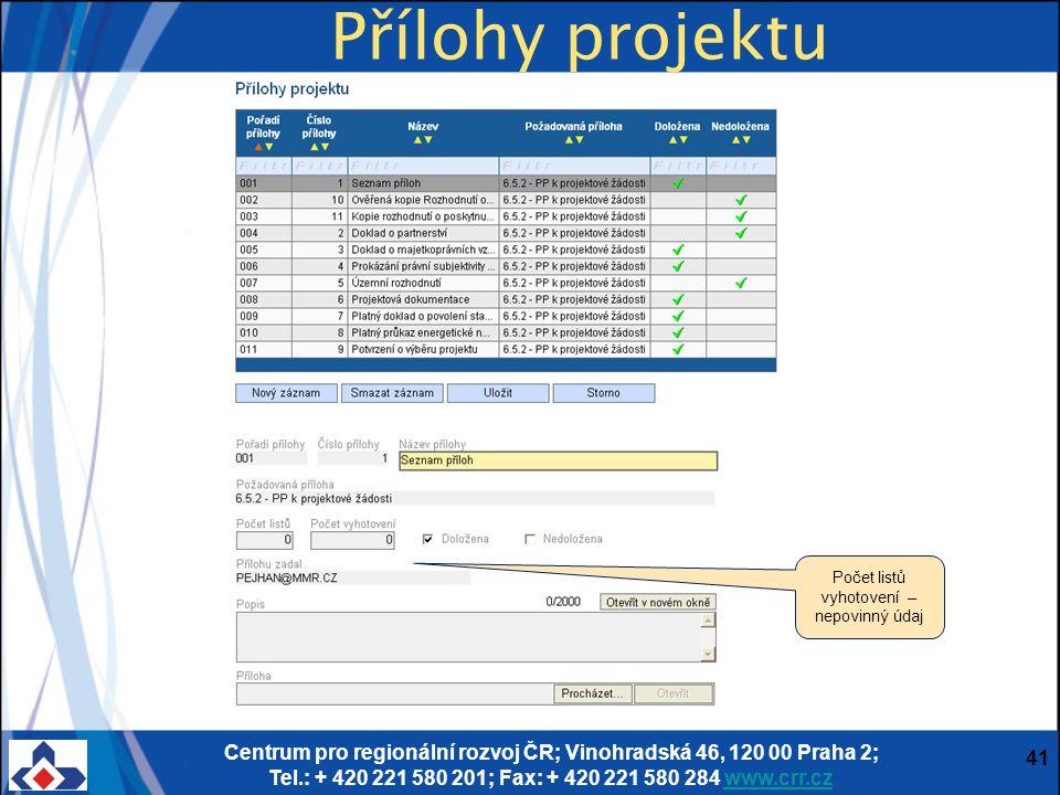Centrum pro regionální rozvoj ČR; Vinohradská 46, 120 00 Praha 2; Tel.: + 420 221 580 201; Fax: + 420 221 580 284 www.crr.czwww.crr.cz 41 Přílohy proj
