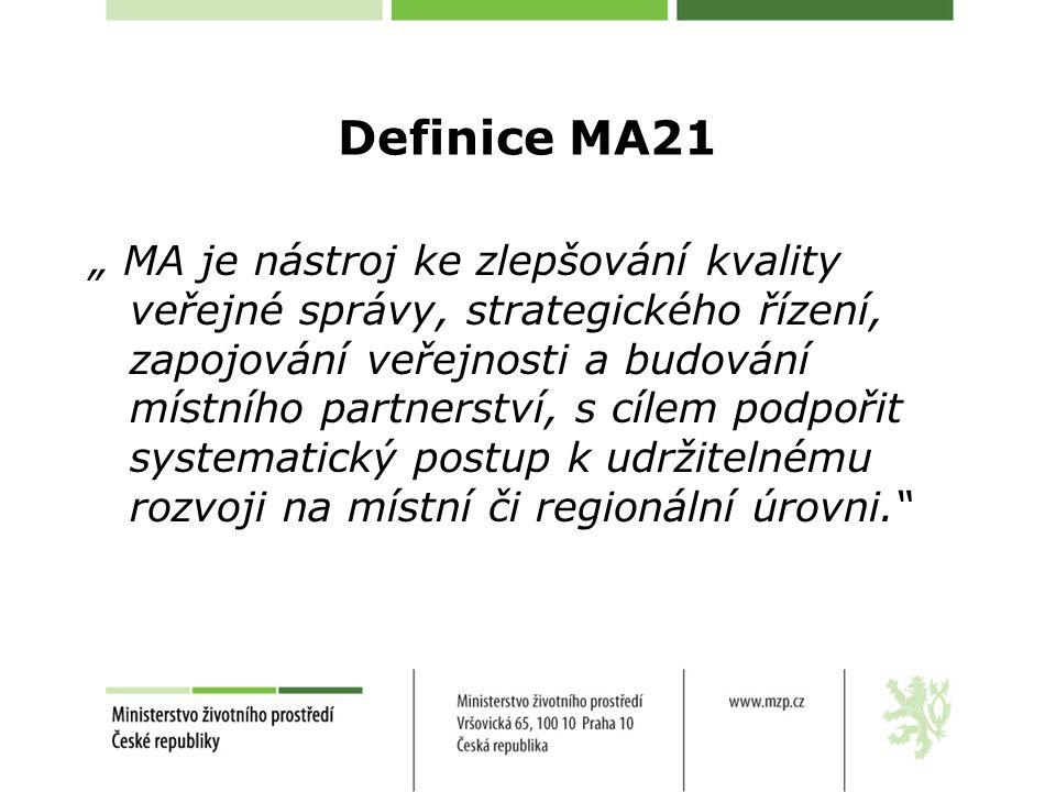 """Definice MA21 """" MA je nástroj ke zlepšování kvality veřejné správy, strategického řízení, zapojování veřejnosti a budování místního partnerství, s cílem podpořit systematický postup k udržitelnému rozvoji na místní či regionální úrovni."""