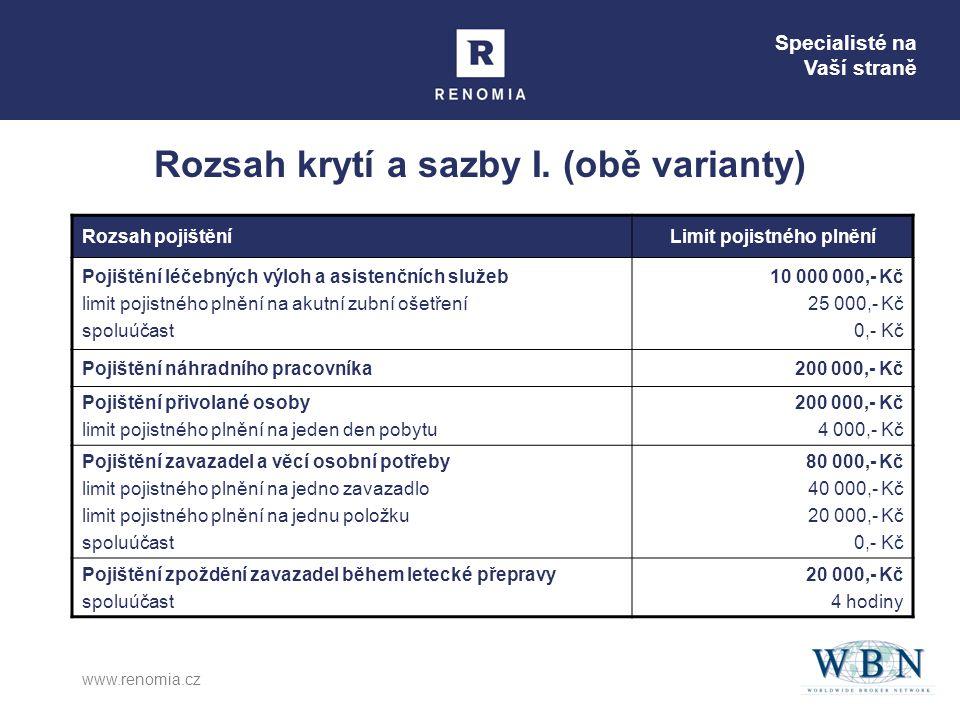 Specialisté na Vaší straně www.renomia.cz Rozsah krytí a sazby I.