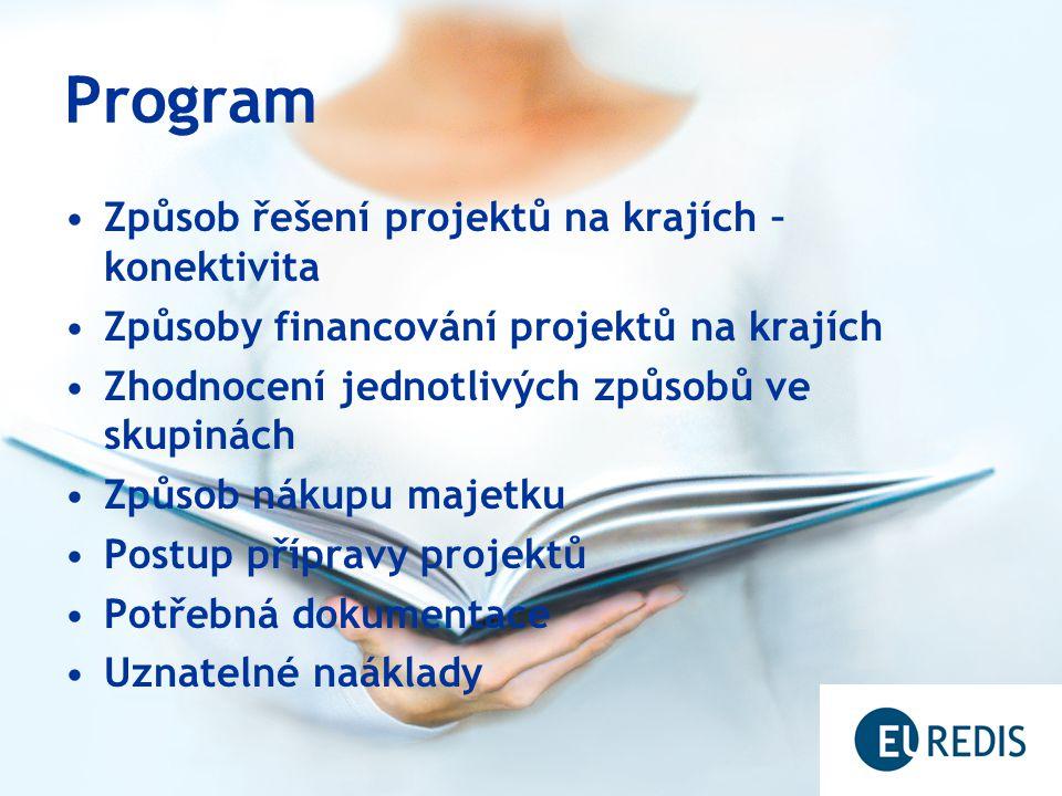 Program Způsob řešení projektů na krajích – konektivita Způsoby financování projektů na krajích Zhodnocení jednotlivých způsobů ve skupinách Způsob nákupu majetku Postup přípravy projektů Potřebná dokumentace Uznatelné naáklady