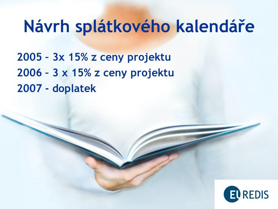 Návrh splátkového kalendáře 2005 – 3x 15% z ceny projektu 2006 – 3 x 15% z ceny projektu 2007 - doplatek
