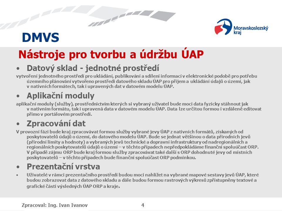 DMVS Nástroje pro tvorbu a údržbu ÚAP Datový sklad - jednotné prostředí vytvoření jednotného prostředí pro ukládání, publikování a sdílení informací v