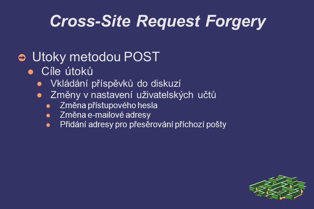 Cross-Site Request Forgery ➲ Utoky metodou POST Cíle útoků Vkládání příspěvků do diskuzí Změny v nastavení uživatelských učtů Změna přístupového hesla Změna e-mailové adresy Přidání adresy pro přesěrování příchozí pošty
