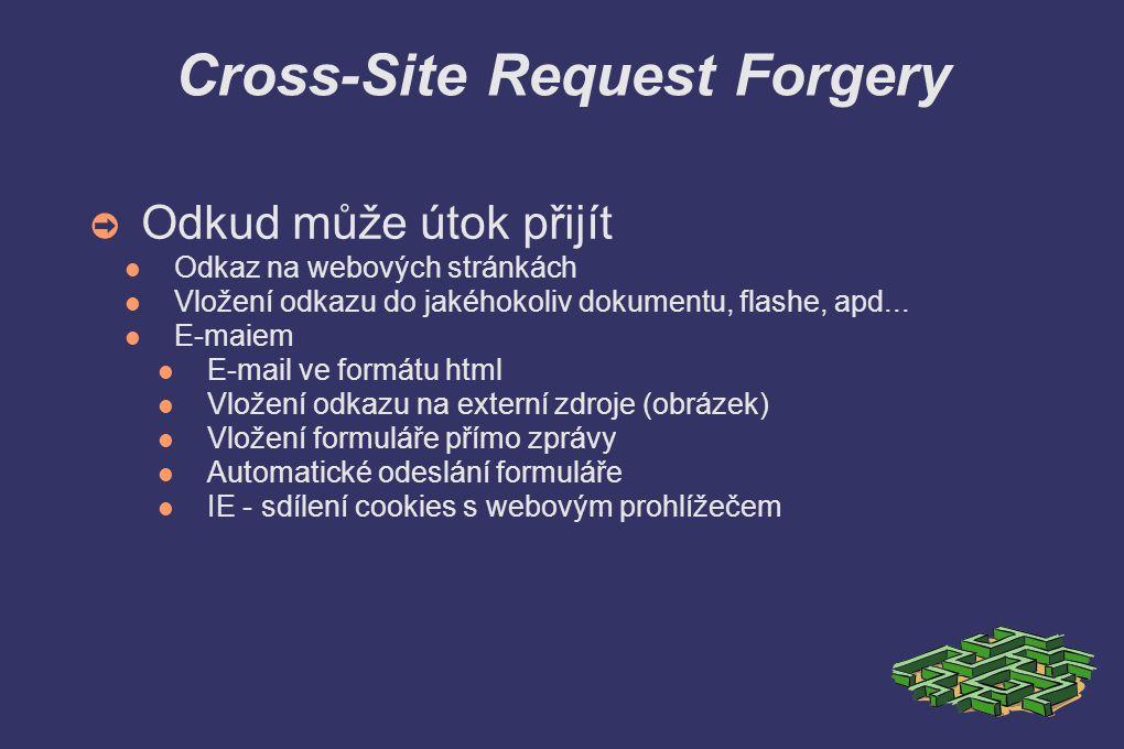 Cross-Site Request Forgery ➲ Odkud může útok přijít Odkaz na webových stránkách Vložení odkazu do jakéhokoliv dokumentu, flashe, apd...