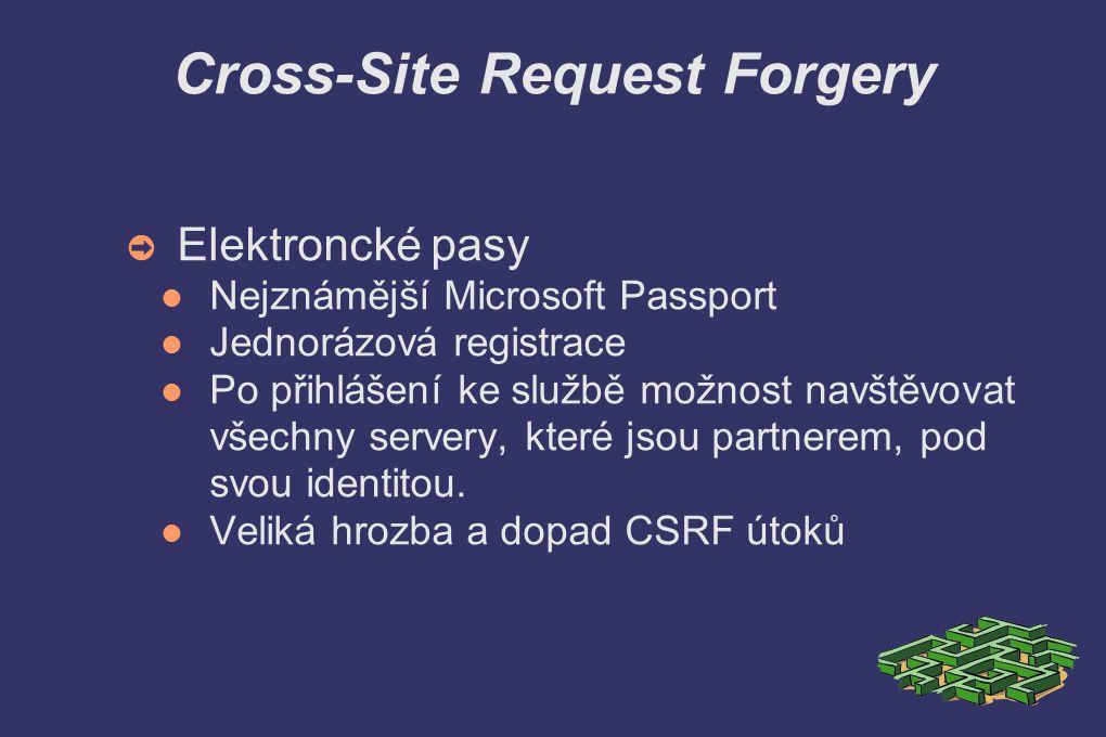 Cross-Site Request Forgery ➲ Elektroncké pasy Nejznámější Microsoft Passport Jednorázová registrace Po přihlášení ke službě možnost navštěvovat všechny servery, které jsou partnerem, pod svou identitou.