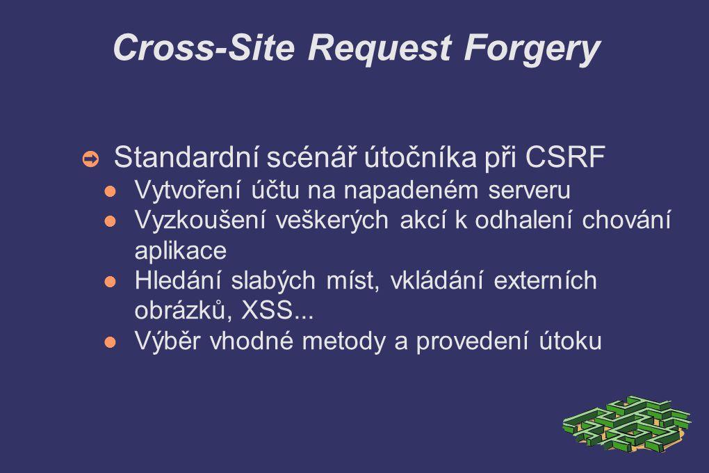 Cross-Site Request Forgery ➲ Standardní scénář útočníka při CSRF Vytvoření účtu na napadeném serveru Vyzkoušení veškerých akcí k odhalení chování aplikace Hledání slabých míst, vkládání externích obrázků, XSS...