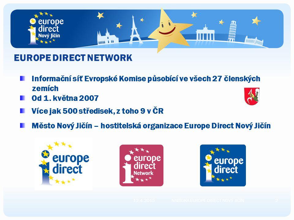 EUROPE DIRECT NETWORK 12.4.20152NABÍDKA EUROPE DIRECT NOVÝ JIČÍN Informační síť Evropské Komise působící ve všech 27 členských zemích Od 1.