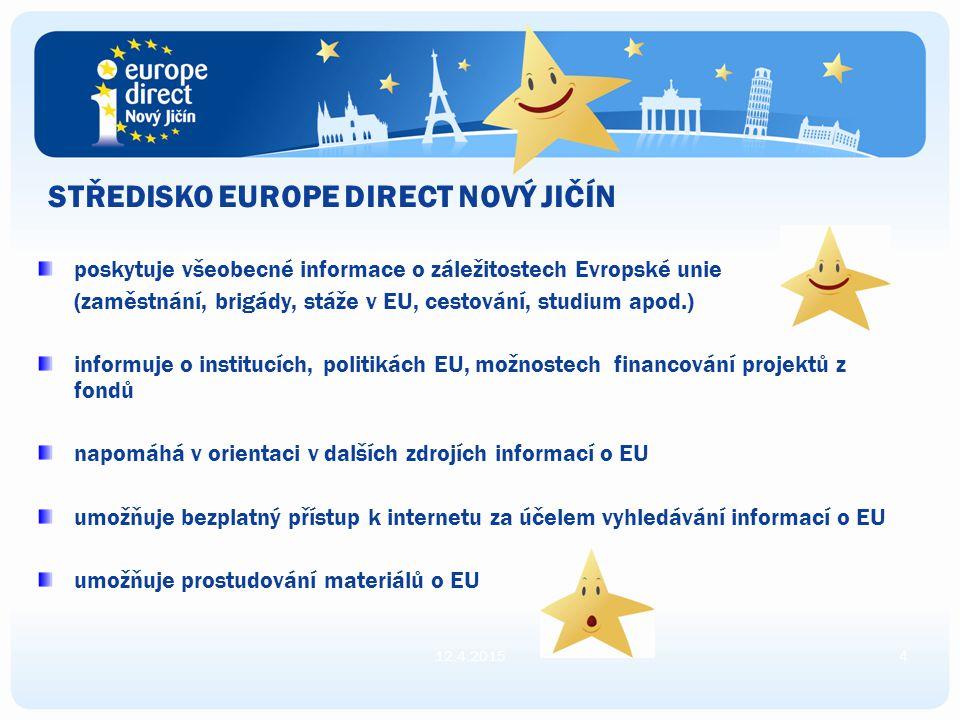 STŘEDISKO EUROPE DIRECT NOVÝ JIČÍN poskytuje všeobecné informace o záležitostech Evropské unie (zaměstnání, brigády, stáže v EU, cestování, studium apod.) informuje o institucích, politikách EU, možnostech financování projektů z fondů napomáhá v orientaci v dalších zdrojích informací o EU umožňuje bezplatný přístup k internetu za účelem vyhledávání informací o EU umožňuje prostudování materiálů o EU 12.4.20154