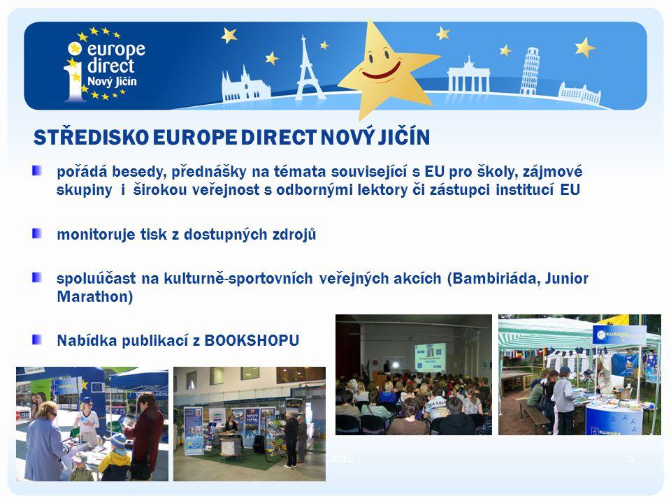 STŘEDISKO EUROPE DIRECT NOVÝ JIČÍN poskytuje všeobecné informace o záležitostech Evropské unie (zaměstnání, brigády, stáže v EU, cestování, studium ap