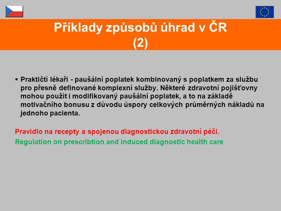  Ambulantní specialisté (mimoústavní péče) paušální částka na jednoho pacienta, a to na základě referenčního období, respektive poplatku za služby - Nařízení o prekripci a indukované diagnostické zdravotní péči - Bonusy pro gynekology s důrazem na prevenci Příklady způsobů úhrad v ČR (3)