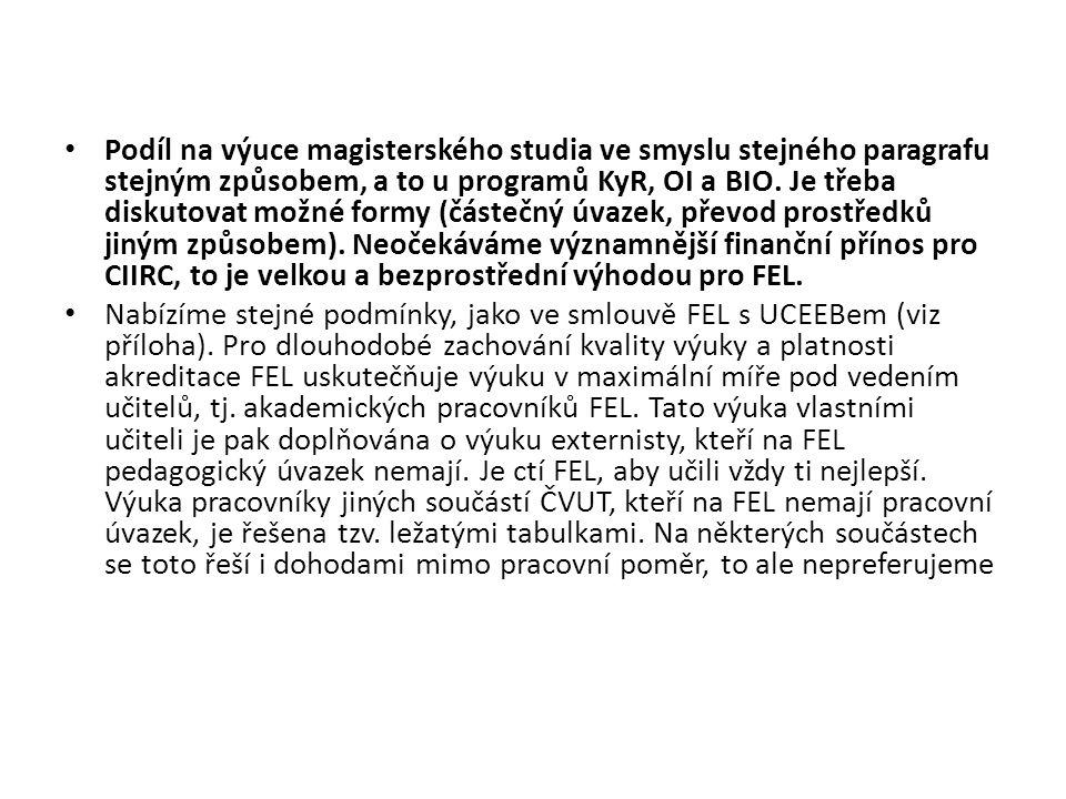 Podíl na výuce magisterského studia ve smyslu stejného paragrafu stejným způsobem, a to u programů KyR, OI a BIO.
