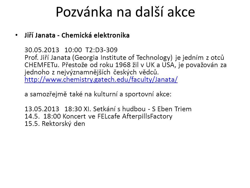 Jiří Janata - Chemická elektronika 30.05.2013 10:00 T2:D3-309 Prof.