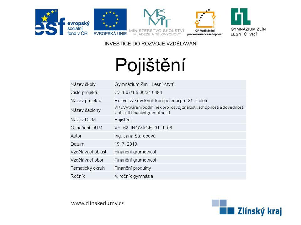 Pojištění www.zlinskedumy.cz Název školyGymnázium Zlín - Lesní čtvrť Číslo projektuCZ.1.07/1.5.00/34.0484 Název projektuRozvoj žákovských kompetencí p