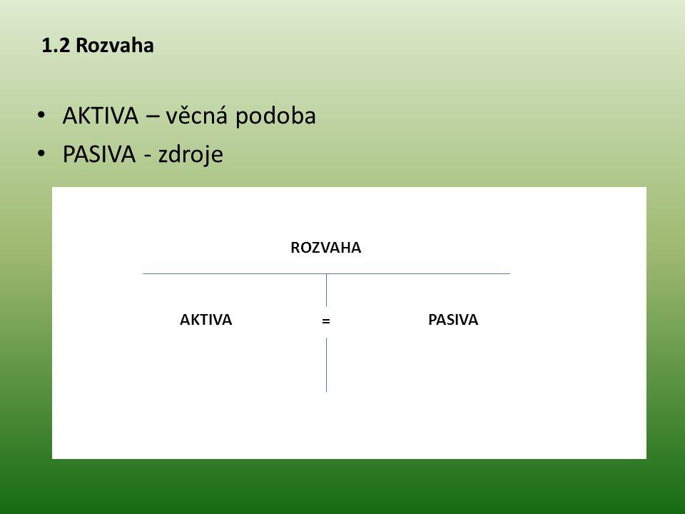 1.2 Rozvaha AKTIVA – věcná podoba PASIVA - zdroje ROZVAHA PASIVAAKTIVA =