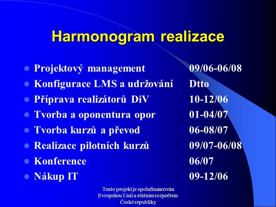 Tento projekt je spolufinancován Evropskou Unií a státním rozpočtem České republiky Harmonogram realizace Projektový management09/06-06/08 Konfigurace LMS a udržováníDtto Příprava realizátorů DiV10-12/06 Tvorba a oponentura opor01-04/07 Tvorba kurzů a převod 06-08/07 Realizace pilotních kurzů09/07-06/08 Konference06/07 Nákup IT09-12/06