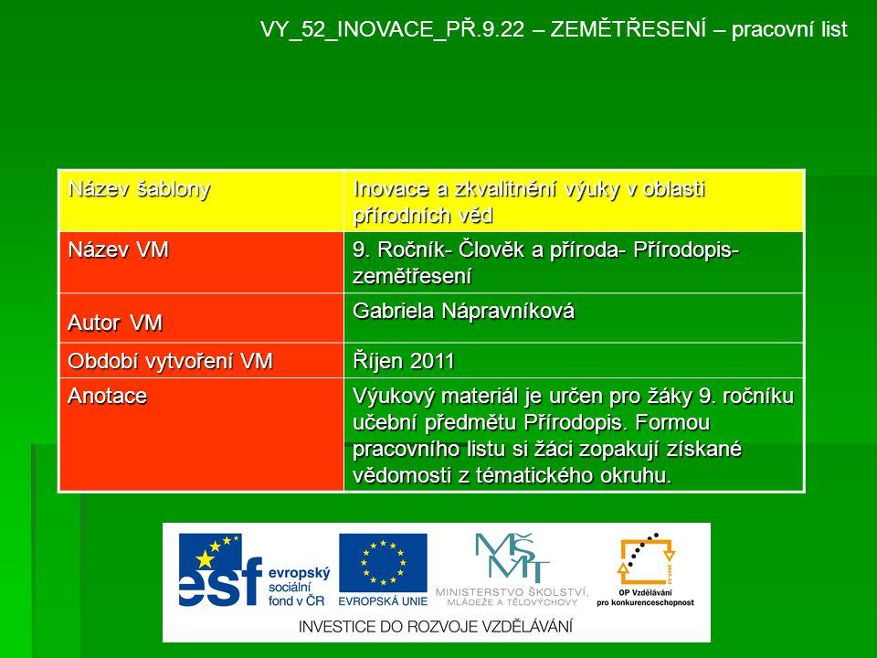 VY_52_INOVACE_PŘ.9.22 – ZEMĚTŘESENÍ – pracovní list Název šablony Inovace a zkvalitnění výuky v oblasti přírodních věd Název VM 9.