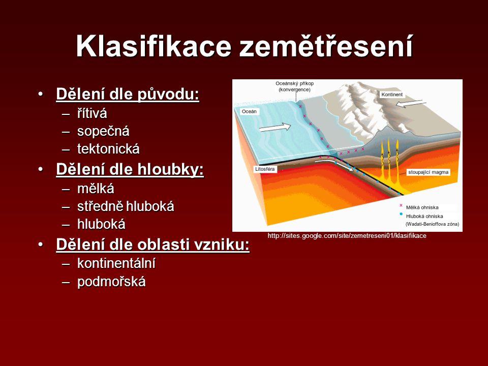 Klasifikace zemětřesení Dělení dle původu:Dělení dle původu: –řítivá –sopečná –tektonická Dělení dle hloubky:Dělení dle hloubky: –mělká –středně hlubo